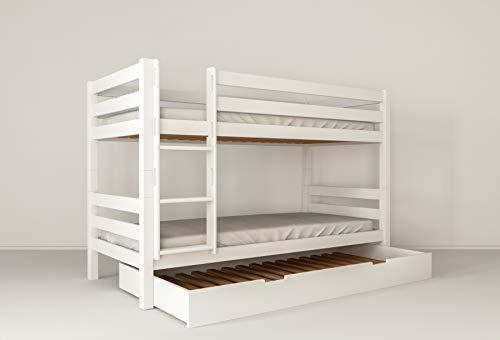 furnneo Etagenbett Weiß 90x200 mit Bettkasten 90x190, Stockbett, Doppelstockbett inkl. Lattenrost und Absturzsicherung, Liegefläche 90 x 200 cm, 100% aus Buche (Weiß, Mit Bettkasten als Zusatzbett)