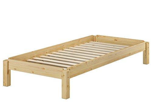 Erst-Holz® Massivholzbett Stapelbett Kiefer Natur 80x190cm Einzelbett stapelbar Gästebett + Rollrost 60.48-08-190