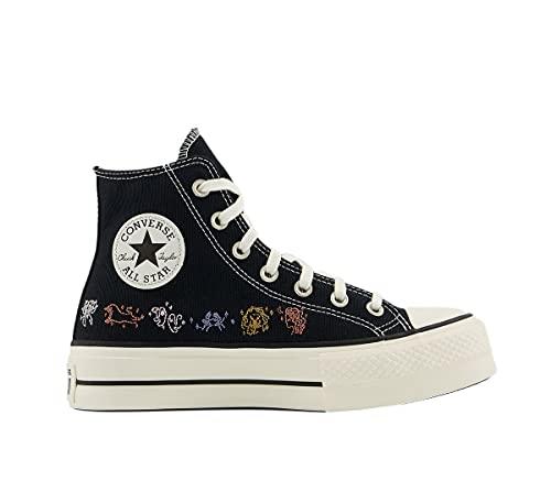 Converse Chuck Taylors All Stars Lift Hi - Zapatillas de deporte para mujer, color negro y azul, Negro Egret Multi Mystic, 37 EU