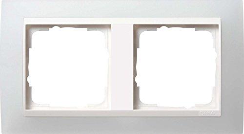 Gira 0212334 Abdeckrahmen 2-Fach Event opak-weiß mit reinweißem Zwischenrahmen