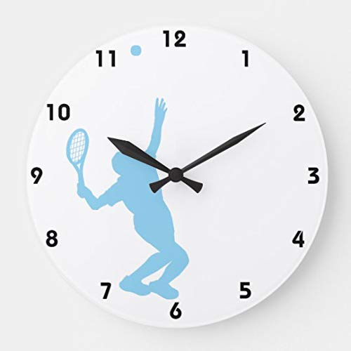 Amyeden, Orologio da Parete Rotondo con Immagine di Tennis Blu, in Legno, 30,5 cm, Regalo per Donne