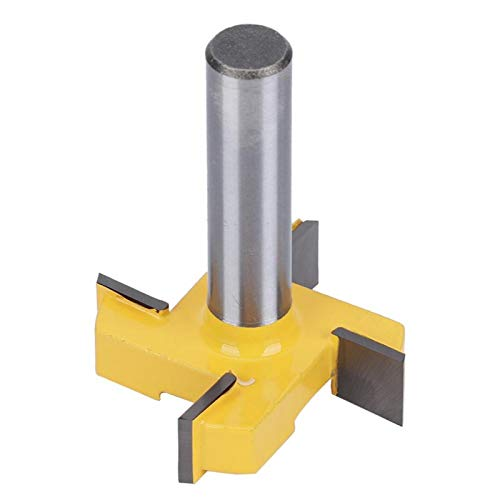 Router Bit T Type 4-Blade Woodworking High Hardness for Wood Plywood(Four-Blade T-Shaped Knife Yellow 12 * 1/2)