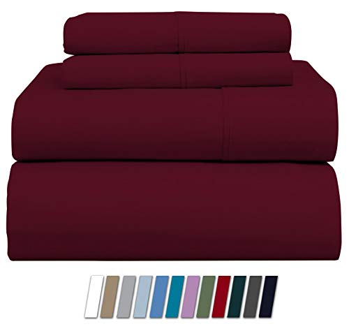 1000-Thread-Count 100% Pure Cotton Bed Sheets on Amazon - 4 Pc Queen Size Burgundy Sheet Set, Single Ply Long Staple Combed Cotton Yarns, Best Luxury Sateen Weave, Fits Mattress Upto 20'' Deep Pocket