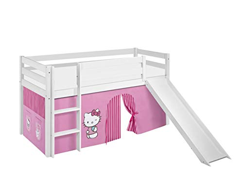 Lilokids Spielbett Jelle Hello Kitty, Hochbett mit Rutsche und Vorhang Kinderbett, Holz, rosa, 208 x 98 x 113 cm