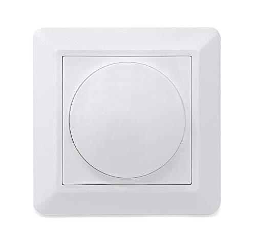 CROWN LED Dimmer mit Drehknopf 230V + Schrauben zur Befestigung, Unterputz Drehdimmer in Reinweiß, dimmbar von 3% bis 100%, Phasenabschnittsdimmer mit Schalter