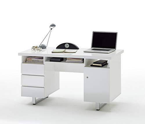 PEGANE Bureau laqué Blanc Brillant avec 3 tiroirs - L140 x H76 x P60 cm