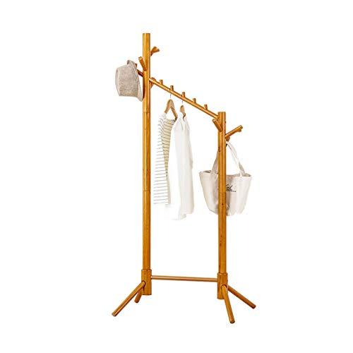 Râteliers multi-usages Porte-Manteau Simple Cintre Plancher en Bois Massif Chambre Simple Moderne Double Pole Rack Casiers (Color : Beige, Size : 68 * 47 * 175cm)