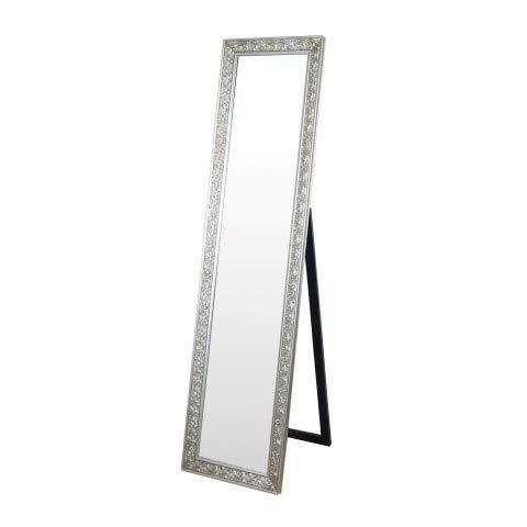 Art Deco Espejo de Pie Retro Resina y Cristal Plateado 160 cm