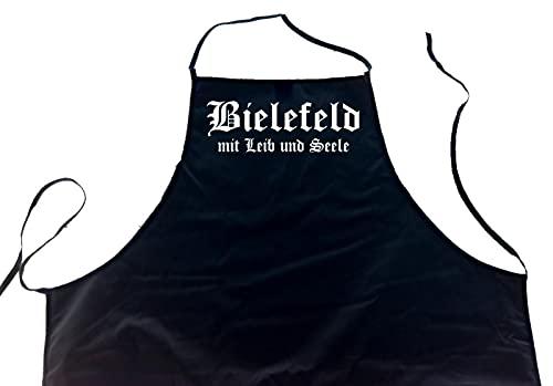 ShirtShop-Saar Bielefeld mit Leib und Seele; Städte Schürze (Latzschürze - Grillen, Kochen, Berufsbekleidung, Kochschürze), schwarz