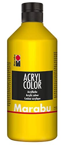 Marabu 12010075019 - Acryl Color gelb 500 ml, cremige Acrylfarbe auf Wasserbasis, schnell trocknend, lichtecht, wasserfest, zum Auftragen mit Pinsel und Schwamm auf Leinwand, Papier und Holz