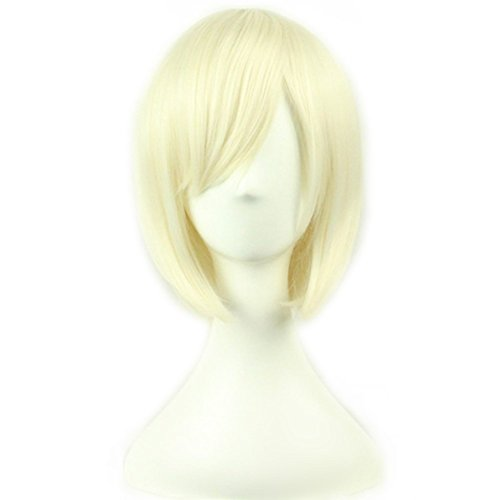 AneShe 12' Short Straight Hair Wig Anime Cosplay Costume Party Wigs (Light Blonde)