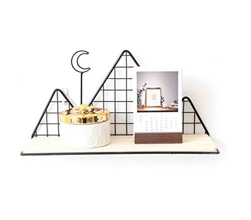 BoBoU Estantería de pared para habitación infantil, estantería flotante con forma de montaña de alambre de metal y madera, fácil de montar en la pared (diseño en forma de montaña)