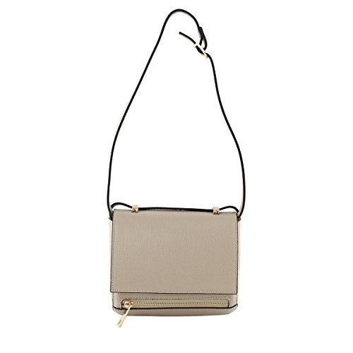 Chicca Borse - bolsa de medio lado Mujer, Gris (Fango), 18 cm
