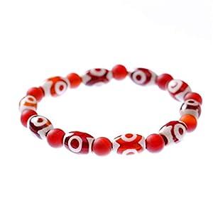 Prime Fengshui Armband mit schützenden Feng Shui-Perlen, tibetisch, rot, Dzi-Perlen, Symbol für Reichtum, Gesundheit, Glück