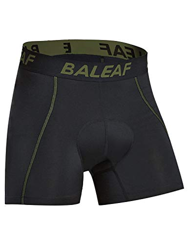 BALEAF Men's Cycling Underwear Shorts 3D Padded Bike Bicycle Pants Quick-Dry Tights Army Size M