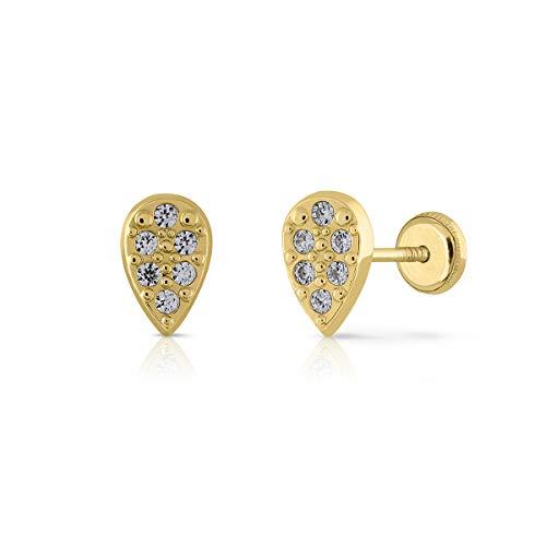 Pendientes de Bebe/Niña/mujer oro 18kts forma de lagrima con circones de alta calidad engastadas. Medida de la joya 3x6 milímetros. Con cierre de rosca de máxima seguridad.