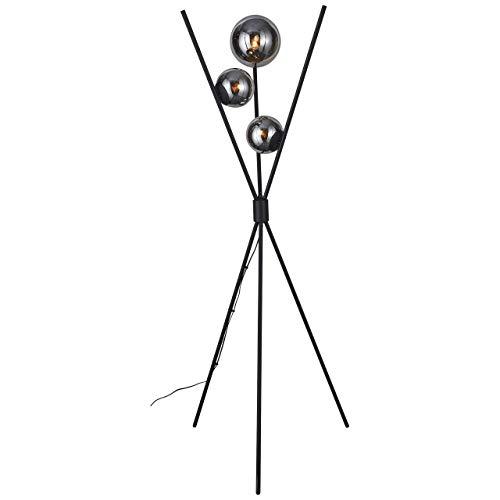 BRILLIANT lamp Astro vloerlamp driepoot zwart/rookglas |3x D45, E14, 40W, geschikt voor vallampen (niet inbegrepen) |Schaal A ++ tot E |Met voetschakelaar
