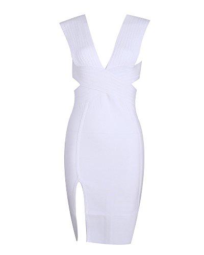 Whoinshop Damen Tiefer V-Ausschnitt Bodycon Kleid Ausgeschnitten Rückenfrei Festliche Bandage Club Kleid mit Seitenschlitz Weiß L