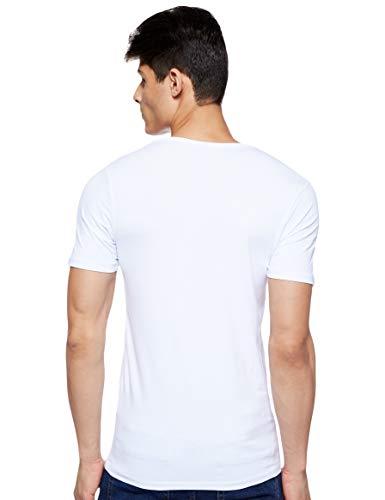 Jack & Jones Jones - Camiseta de manga corta con cuello redondo para hombre, color blanco (optical white), talla M