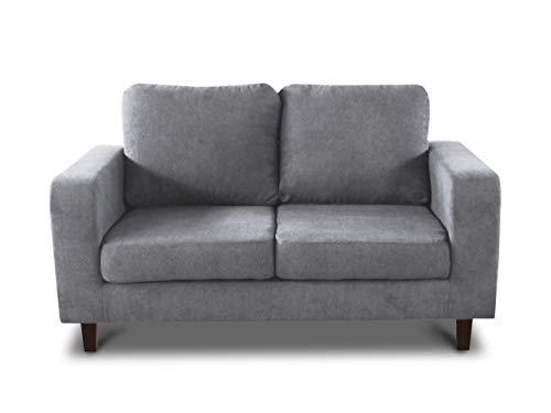 Sofa Kera 2-Sitzer - Velours Stoff, Holzfüße, Couch 2-er, Loungesofa, Sofagarnitur, Büro, Wohnzimmer (Grau (Cosmic 160))