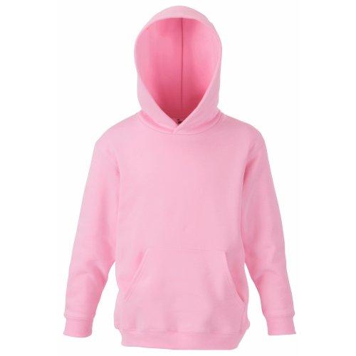 Fruit of the loom - Felpa con cappuccio da bambino unisex rosa chiaro 12 anni