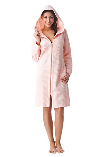 DOROTA kuscheliger und moderner Damen Baumwoll-Bademantel mit Taschen, Reißverschluss & Kapuze, made in EU, rosa, Gr. XL