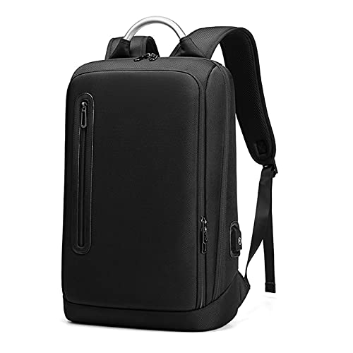 HJUIK Mochila para portátil para hombre, impermeable, delgada, con puerto de carga USB, color negro, tamaño: 32 x 12 x 47 cm