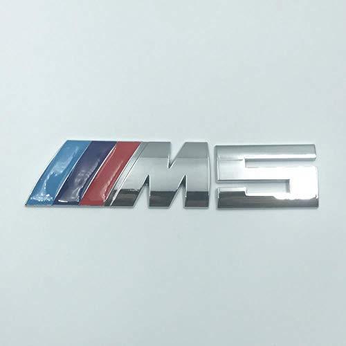 OMGDZ Geeignet für BMW M Autoaufkleber Logo 5er M3 M5 X1M X3M X5M X6 Metall Auto Aufkleber Hecketikett, M5 Silber Trikolore
