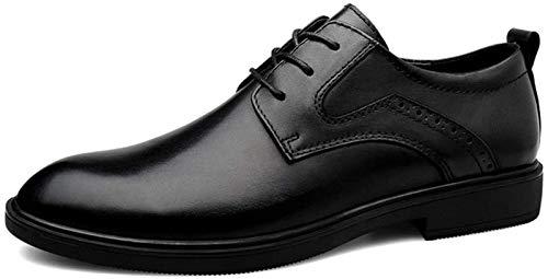 LXF JIAJU Zapatos de Hombre Nuevo Negocio de Hombres Zapatos Zapatos for Vestido Formal con Cordones de Cuero auténtico talón bajo Antideslizante Sólido Dedo del pie Redondo de Color Suela de Goma