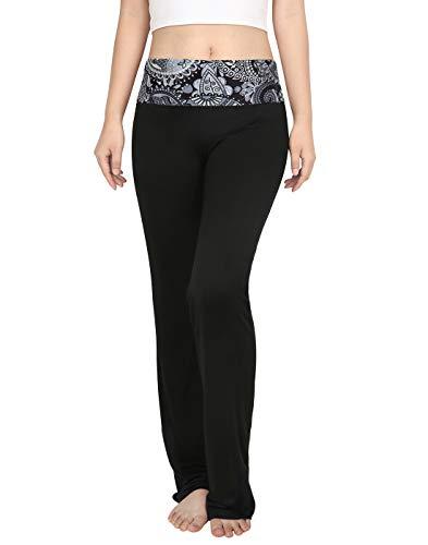 HDE Foldover Athletic Yoga Pants Gym Workout Leggings (Black Paisley, X-Large)