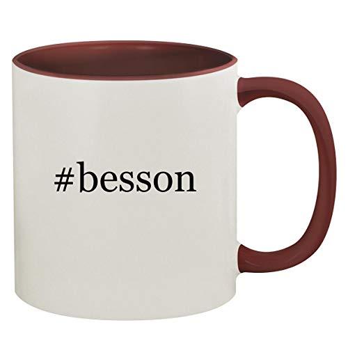 #besson - 11oz Hashtag Ceramic Colored Inside & Handle Coffee Mug, Maroon