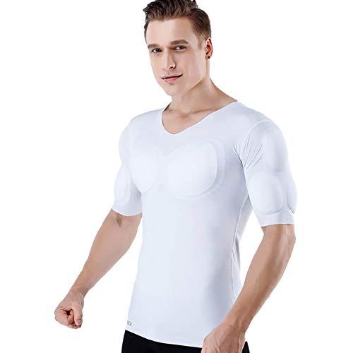 Ning Hommes Faux Muscle Manche Courte T-Shirt Faux Muscle Abdomen Coupe Slim Muscle Tee Shirt sous-vêtements,b,M