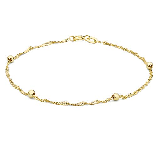 Carissima Gold Women's 9 ct Yellow Gold 3 mm Twist Curb and Ball Curb Bracelet of Length 18 cm/7 Inch
