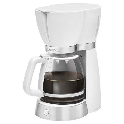 Clatronic KA 3689 Filterkaffeemaschine für 15 Tassen, Glaskanne, Tropfstopp, Abschaltautomatik, 1000 W, Weiß