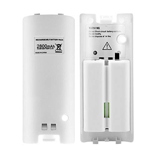 CICMOD Rechargeable Battery Pack 2Pcs 2800mAh Batteries for Nintendo Wii Remote Controller White