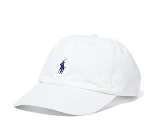 Polo Ralph Lauren Men`s Cotton Chino Baseball Cap (White(3007)/Navy/White, One Size)