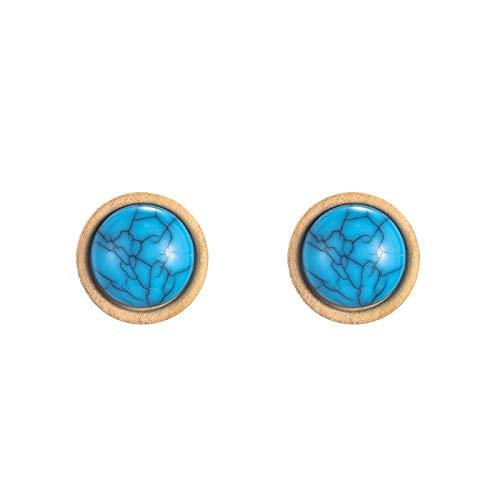 DFDLNL Pendientes Holiday Pop Mujer Redondo Beige Configuración de Madera 11 Colores Stone Stud Earrings Pins PartyLake Blue