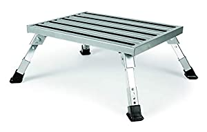 Camco Adjustable Height Aluminum Platform Step- Supports Up to 1,000lbs, Includes Non-Slip Rubber Feet, Durable Construction