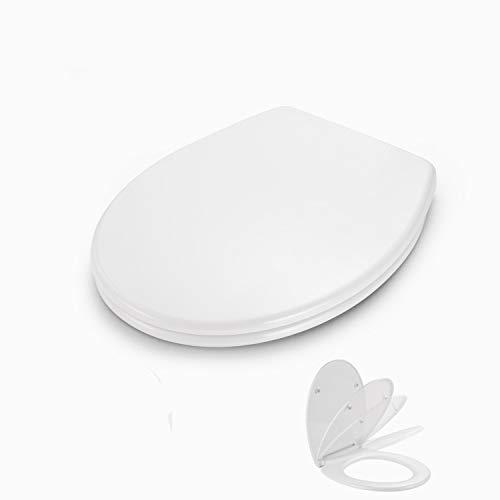 Tapa de wc, Dalmo DBTS07TY Polipropileno Asiento para Inodoro en Forma de O con PP Liberación Rápida Tapa y Asiento para Inodoro con Cierra Suave y Silencioso Fácil de Instalación y Limpieza