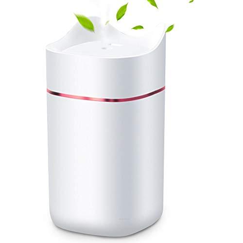 HebyTinco Humidificador Ultrasónico Difusor, 1.4L Humidificador Aceites Esenciales USB con Luz de Noche de Colores, Niveles Ajustables, para Auto de Oficina Yoga SPA (blanco)