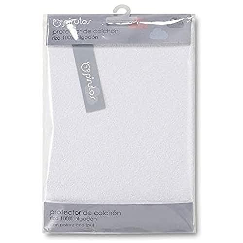 Pirulos Protector Colchón para Cuna de Bebé/Protector de Colchón e Impermeable Anti Ácaros, Medidas 60x120cm Color Blanco