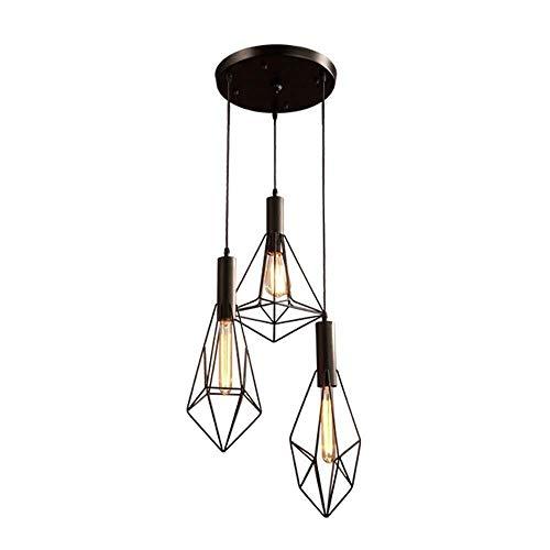 candelabro DBL E27 lámpara de Hierro, Nostálgico Colgante Industrial Lámparas Bar Café Loft Hierro Creativo Decorativo diseñador Jaula de Techo Soporte de luz de la lámpara de Edison (Color : D)