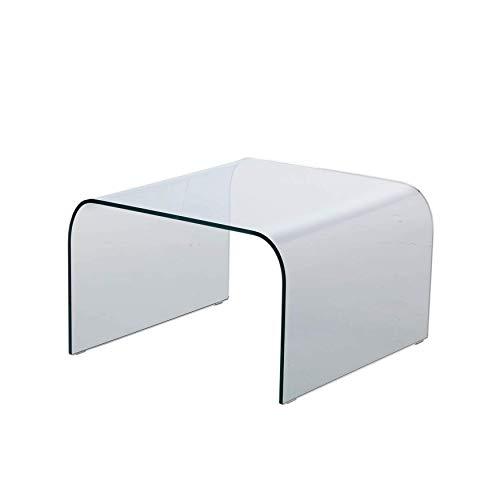 MOD. Arco Tavolino da Salotto Basso in Vetro Curvato - 60x60 H38 - Made in Italy
