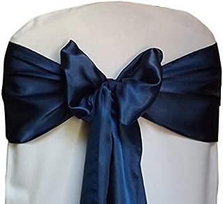 VDS - 10 PCS Elegant Satin Chair Bow Sashes Bows for Wedding Party Banquet Decor - Ribbon Tie Back sash – Navy Blue