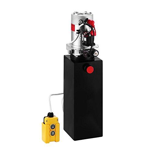 SucceBuy 12V DC Pompe Hydraulique avec Grand Réservoir en Simple Effet pour Ascenseur Automatique Remorque De Déchargement (Simple, 10L)