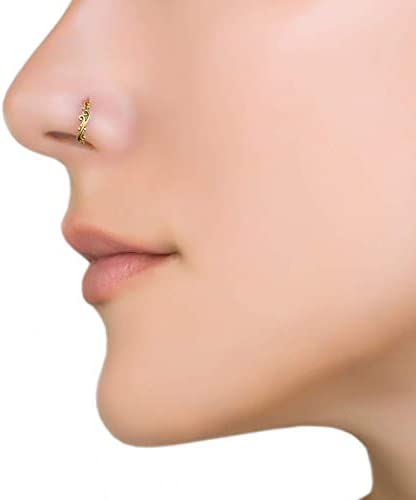 Indian Nose Ring Unique Boho Ethnic Trible Delicate Gold Brass Nose Hoop Piercing Earring fits product image