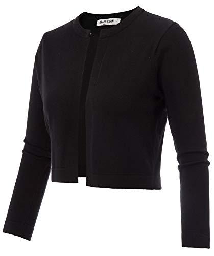 GRACE KARIN Women's 3/4 Sleeve Open Front Knit Cropped Bolero Shrug Sweater (Small, Black)