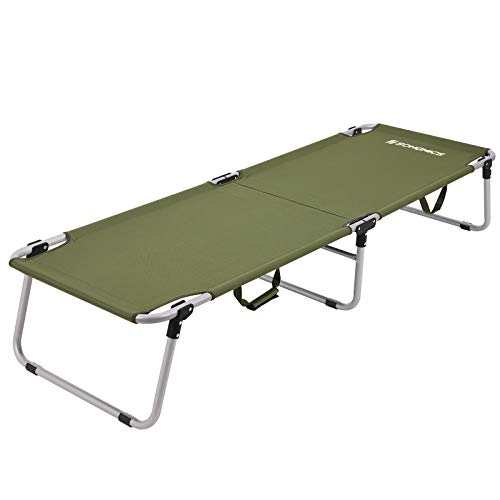 SONGMICS Gcb18j GCB18J-Cama Plegable para Acampada (hasta 260 kg), 190 x 63 x 36 cm, Unisex Adulto, Verde Militar