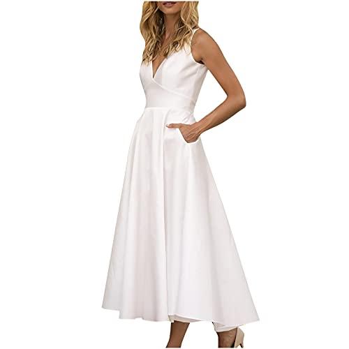 Wirziis Women's Summer Dress for Wedding Guest,Elegant White Halter Short Sleeve Mini Dress Sexy Lace A-Line Party Dress