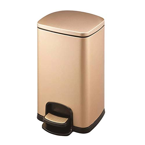 NYKK Cubo de Basura Bote de Basura Tipo Pedal con Tapa Blanda, con Barril Interior de plástico, Caja de Reciclaje de Acero Inoxidable Papelera Exterior (Color : Champagne gold-25L)